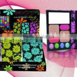 Hot wallet style water-resistant glitter mineral 80 colors cosmetics compact palette makeup eyeshadow with brush