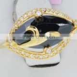 QR268 purity&quality ensure finger ring,875 stamp 21k gold ring with black onyx