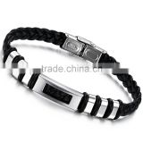 Wholesale high quality smooth edge plain Cuff stainless steel biker bracelets for men