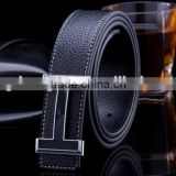 High quality leather belt Genuine smooth buckle leather belt