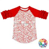 New Pattern Love Printed Girls Valentine Shirt Baby Cotton Icing Ruffle Shirts wholesale girl valentines clothing Raglan Shirt