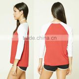Baseball Tee Ribbed Crew Neckline 3/4 raglan sleeves Classic Baseball Tee shirt cotton knit fabric
