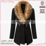 high fashion slim fit England Style high quality office wear fur collar design black woolen coat woman