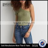 MGOO Sexy One Shoulder T-Shirt Summer Cotton Tank Tops Popular Wholesale Women Fashion Tops