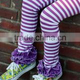 Toddler Girls 95% Cotton 5% Spandex Icing Legging Purple And White Striped Pants