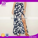 2016 guangzhou shandao summer wholesale new design fashion high slit floral printing women long skirt