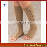Custom Medical Zipper Compression Sock, Compression Beige Socks, Open Toe Knee Length Calf Sleeves--ZP00114