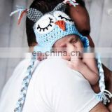 Full Handmade Crochet Baby Hat Boys Winter Ear Flap Sleeping Owl Beanie