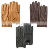 genuine leather men's driving fingerless gloves