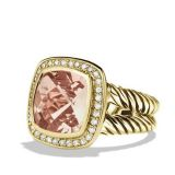 925 Silver 14mm Albion Ring with Morganite and Diamonds in Gold(R-105)
