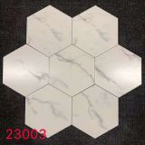 200x230mm Carrara Marble Effect Hex Tile Bathroom