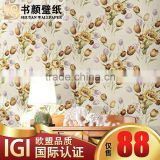 Natural colored cotton flower garden paved Qiangbu TV background wall covering bedroom den sofa bed -3d wall paper designer wall