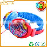 Fashion low cost fancy promotional stereo comfortable colorful deep bass leather headphones for students