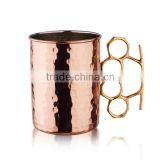 Old Dutch 20 Oz Brass Knuckle Hammered Moscow Mule Mug unlined lacquered on exterior only