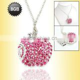 Beautiful Pink Apple Shape Necklace Jewelry USB Flash Driver 8GB with CZ diamond Accept Paypal