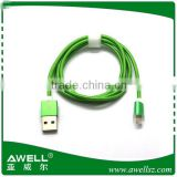 Wholesale OEM Brand Colorful Aluminum Metal Shell Connectors Tip 3FT Nylon Braided Wire Fabric Micro USB Cable