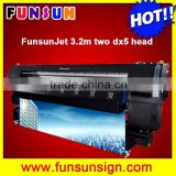 Heavy duty Funsunjet FS3202K 3.2m / 10ft outdoor and indoor advertising printing machine with two DX5 heads 1440dpi