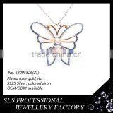 2015 Saudi popular 925 sterling silver butterfly necklace rose gold plated pendant with a white zicron