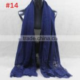 New Design Winter Autumn Fashion Ladies Plain Cotton Lace Scarf                                                                         Quality Choice