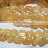 Natural Citrine smooth tumble bead strands