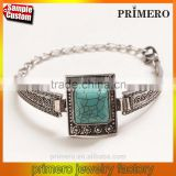 New Vintage Tibetan Silver Square Turquoise Bracelet Bangle Jewelry Wholesale