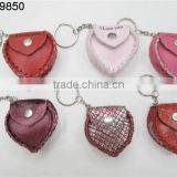 custom hand made PU leather mini heart shape bag keychain