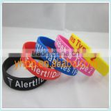 Custom Type 2 Diabetic Medical Alert Silicon Febossed Wristband Bracelet                                                                         Quality Choice