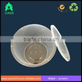 2L clear round fruit containers with seperate lids/PP round food container with cover 2000ml