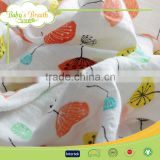 MS-17 2016 Organic Cotton Gauze Muslin Printed Patterned Muslin Baby White Fabric
