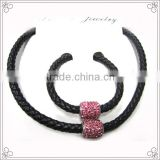 Top Quality Bolo Braided Leather Cord Necklaces With Red Crystal