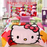Hello Kitty 100% cotton reactive printting bed sheet set bed sheet egyption cotton bedding bedding set cat print bedding set
