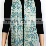 Green Floral Printed Light Wool Scarf with fringe