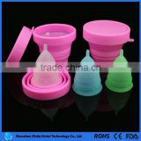 Eco-friendly 100% silicone lady period cup folding cups