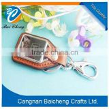 nice metal key chain with zinc alloy material and leather sold by cangnan manufactory directly with favourable price in China