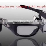Polarized lens Sunglasses with earphone PC spy camera hidden video Recorder mini camcorder
