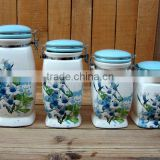 Elegant Ceramic Airtight Food Canisters with Blue Morning Glory Decal
