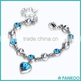 Wholesale 925 sterling silver bracelets, female europe imported crystal heart shaped charm bracelet