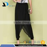 Daijun oem hot sale breathable black chiffon women harem pants wholesale