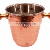 Steel Copper Ice Bucket Wine Cooler with Brass Stand 1000 ML - Bar, Hotel, Home, Tableware