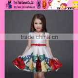 latest flower printed Princess dress baby girls party wear dress cheap selling hand made baby girl dress