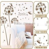 Free Shipping Wall Sticker Flying Dandelion Removable PVC Wall Decoration For Parlor/Bedroom/TV Wall Stickers AM9001