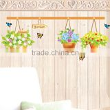 Free Shipping DIY Removable Wall Stickers Garden flower Butterfly Flower Basket Living Room Home Decor Mural Decal DM57-0093