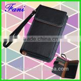 Wholesale small leather wallet purse with mobile phone holder and wrist strap design