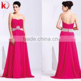 Beautiful off-shoulder sexy backless ruffle and beaded formal fuchsia chiffon maxi new dress for bridesmaid kt1057