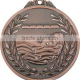 Brass medal with ribbon, Silver medal, swimming medal