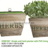 hot sell wall planter/hanging wooden kitchen herb planter with soil/growing medium and seeds