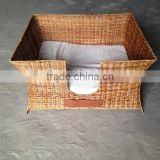 Bamboo pet cage by handmade from Vietnam, square animal house, open warmly heart with pet house