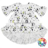 Wholesale Boutique Children Clothing USA Design Custom T Shirt Printing Girls Ruffle Shirts