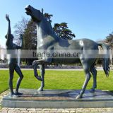 famous sculpture outdoor garden nude boy statue with horse