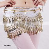 Hot selling professional velvet wavy belly dance coins belt belly dancing hip scarf